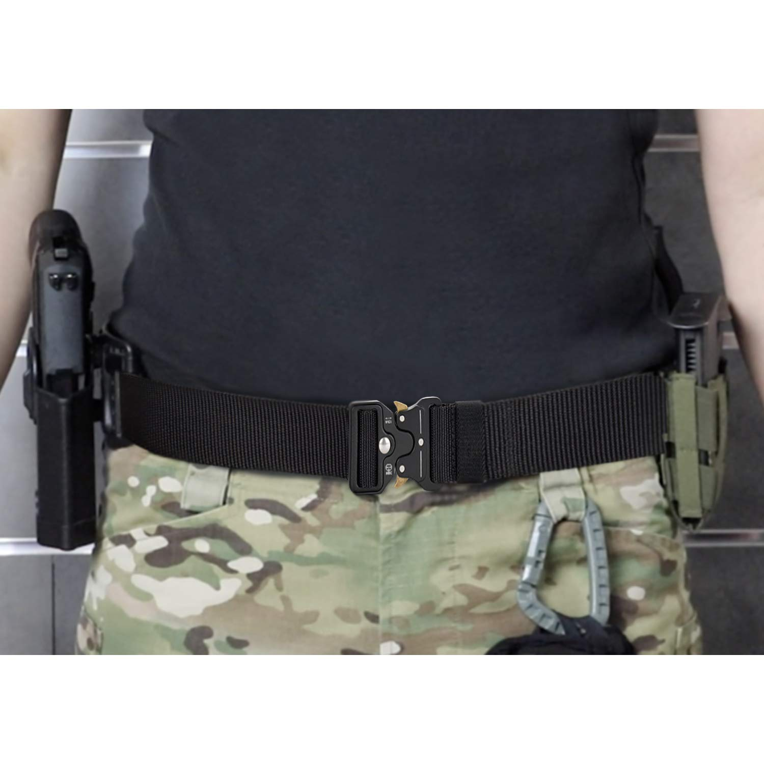 Tactical Belt Gun Adjustable Belts Military Style Webbing Riggers Nylon Belt with Heavy-Duty Metal Buckle and 49 Inches Longth Gun Belts Fits for Waist from 30 to 46 Inches with Gear Clip