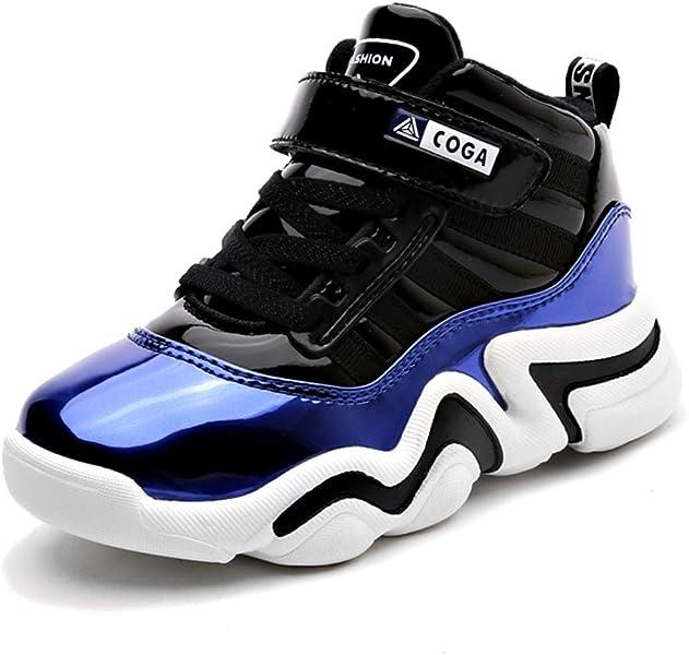 Zapatillas de Deporte de Baloncesto para niños de Invierno con Velcro de Charol Niños Impermeables Calientes y terciopelos Zapatos de Nieve para niños ...