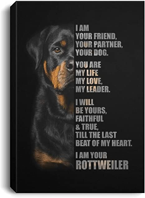 Canvas Framed Wood I Am Your Friend Your Partner Your Dog I Am Your Rottweiler Family Friend Gift Unisex On Christmas Awesome Birthday Decor Home Print Wall Art Size 16 X24