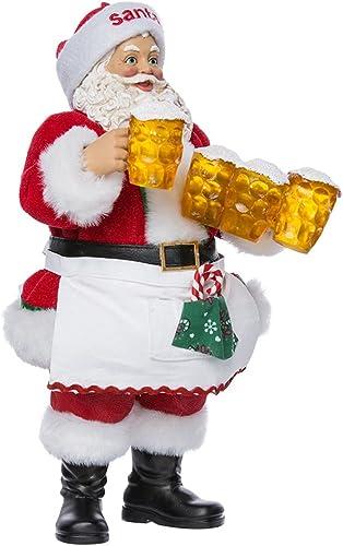 Kurt Adler 10.75-Inch Fabrich Santa Serving Mugs of Beer
