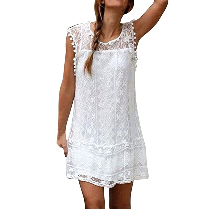 feiXIANG Frauen locker Spitze Kleider Strand Hemdkleid Damen kurzen Kleid  Tassel Mini - Kleid Sommer Ärmelloses rockkleid O-Ausschnitt Shirtkleid  ... 2f96fe010a