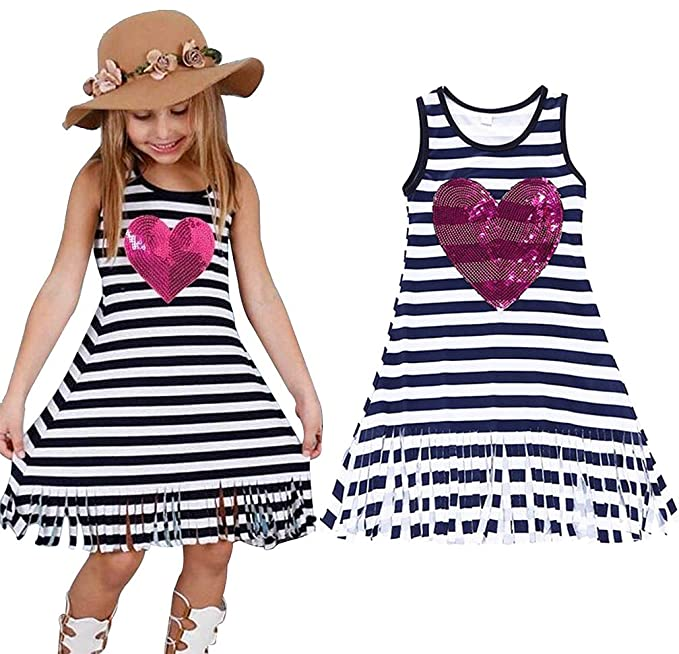 13a64b877fd40 EGELEXY Summer Baby Girls Sleeveless Striped Dress Kids Casual Clothes  Outfits