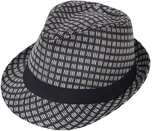 Hemantal Unisex Vintage Structured Summer Straw Fedora Hat Short Brim Fedora Black (Short Brim Straw)