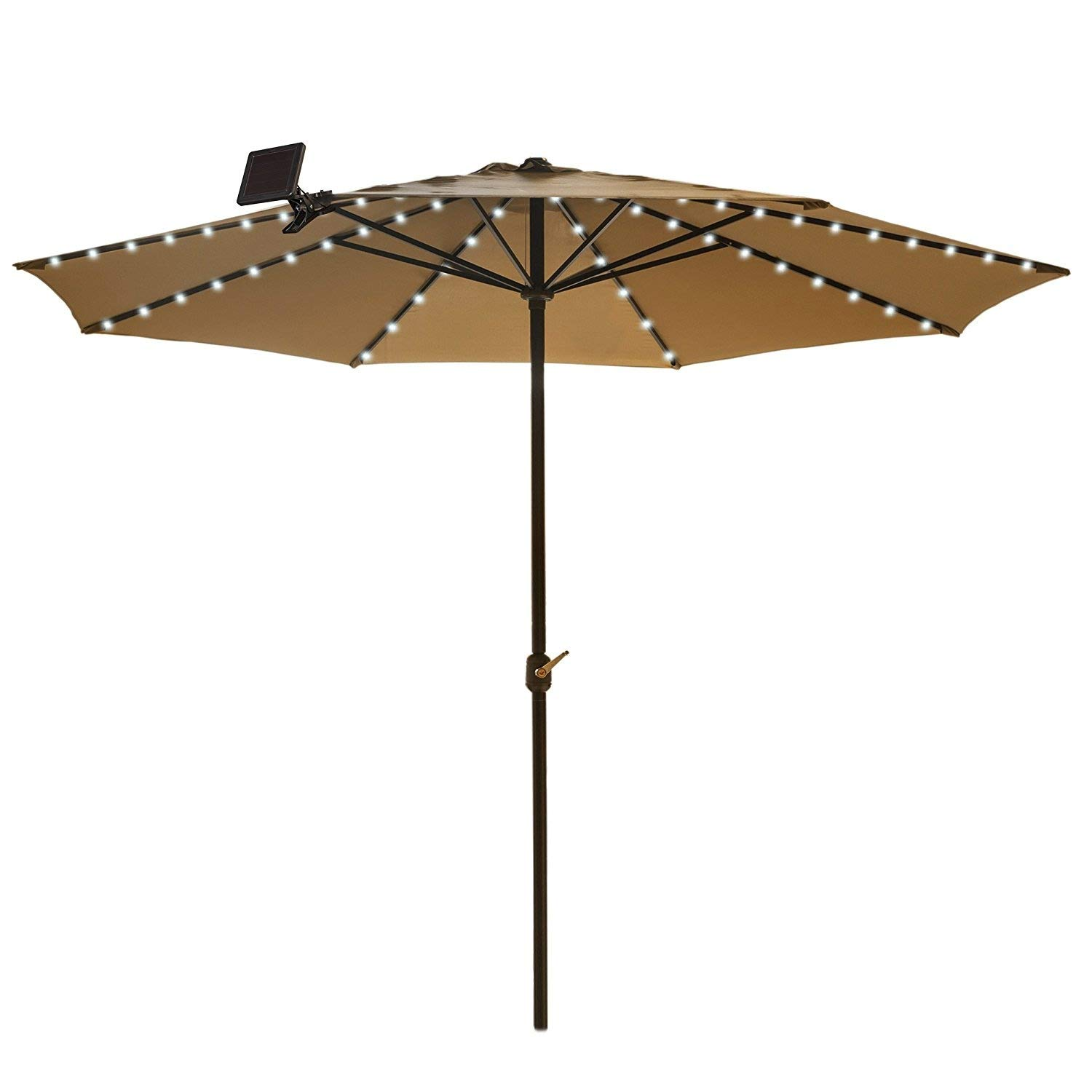 Umbrella Solar String Lights - Cool White - 72 total LEDs, 8 strings, 9 LEDs per string by Touch Of ECO