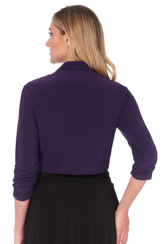 Rekucci Womens Chic Soft Knit Stretch Bolero Shrug with Ruched Sleeves