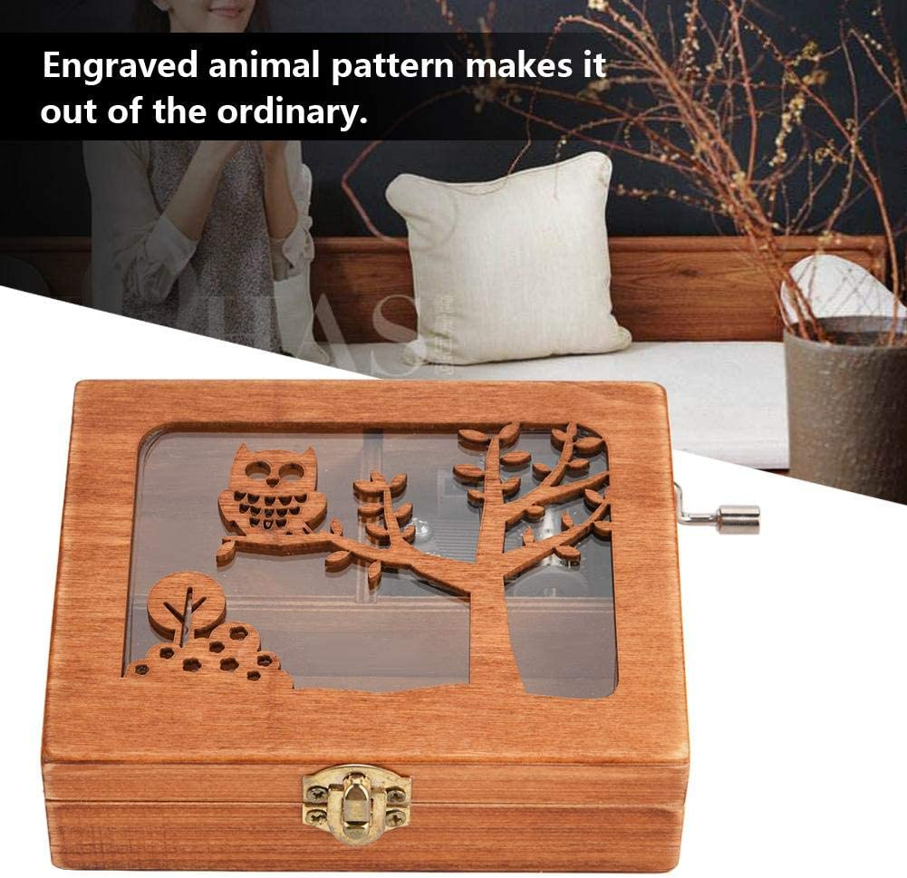 Music Box Elephant Hand Crank Mechanical Music Box Wooden Forest Animal Engraved Music Box Creative Birthday Craft Gift Ornament Toy