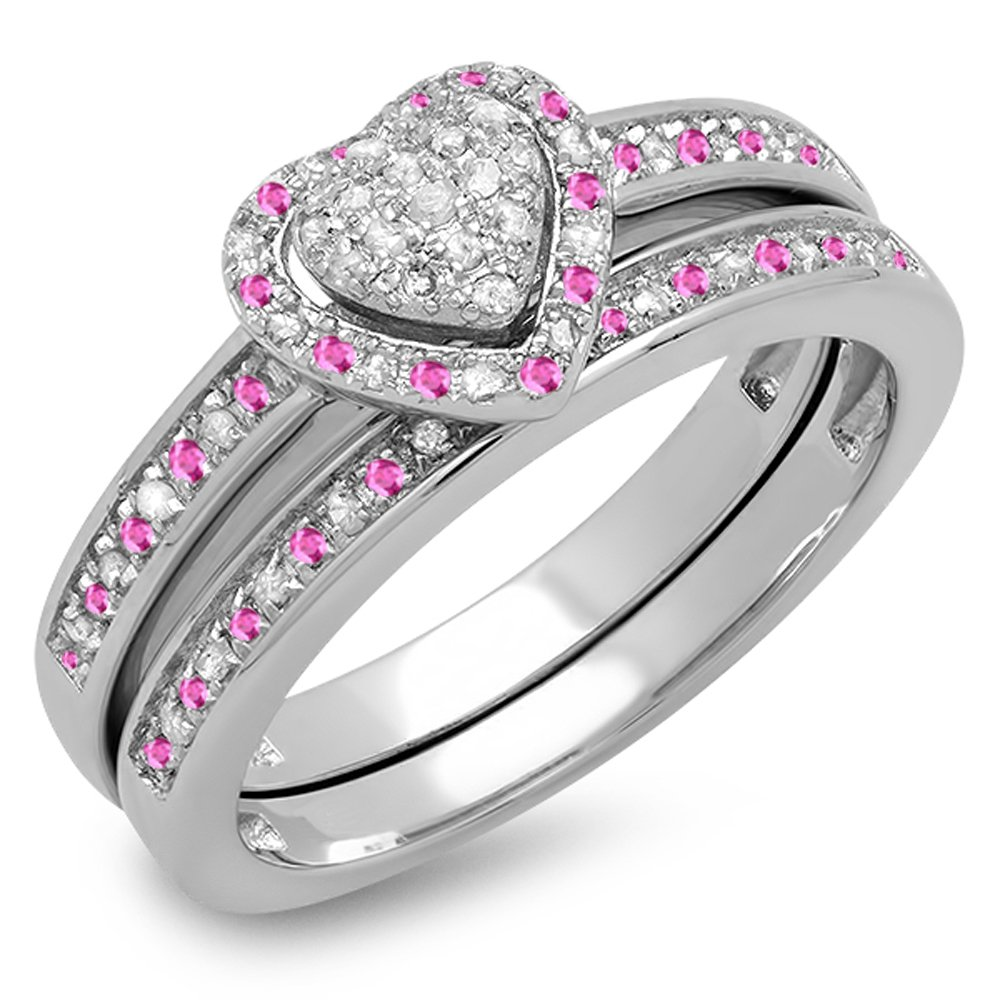 Sterling Silver Round Pink Sapphire & White Diamond Heart Bridal Engagement Ring Set (Size 7)