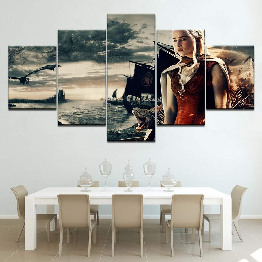 JSBVM Zuhause dekorativ Leinwanddruck Malerei Wandkunst 5 Stücke Game of Thrones Fernsehen Poster Für Wohnzimmer Wand Dekoration