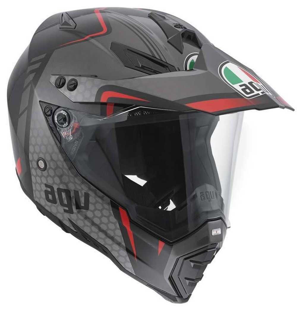 AGV AX-8 Dual Sport Evo Adult Helmet - Black/Red/Silver / Medium