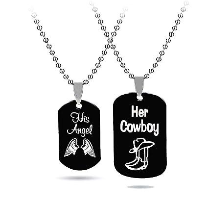 194efcad13 Amazon.com: Couple Necklace-His & Hers Matching Set Titanium ...