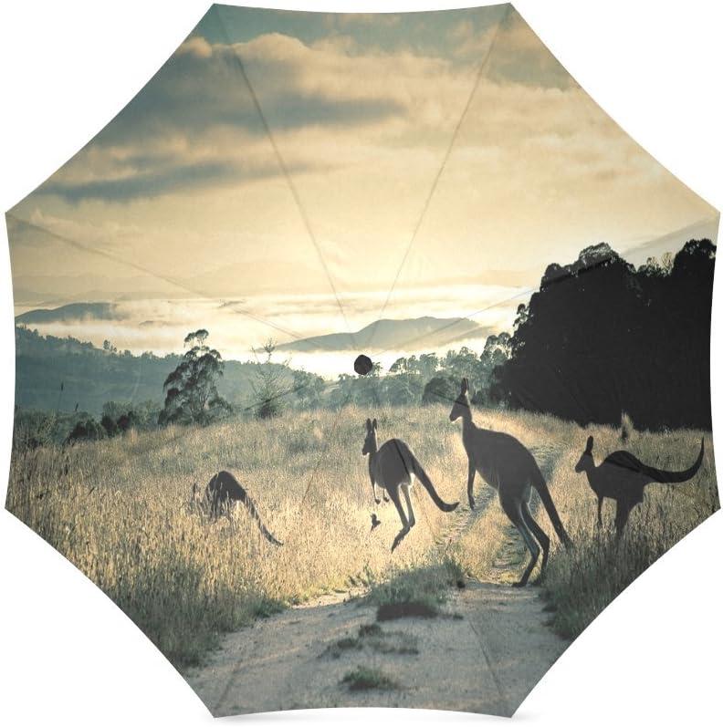 foldable Umbrella Custom Cute Kangaroo Compact Travel Windproof Rainproof