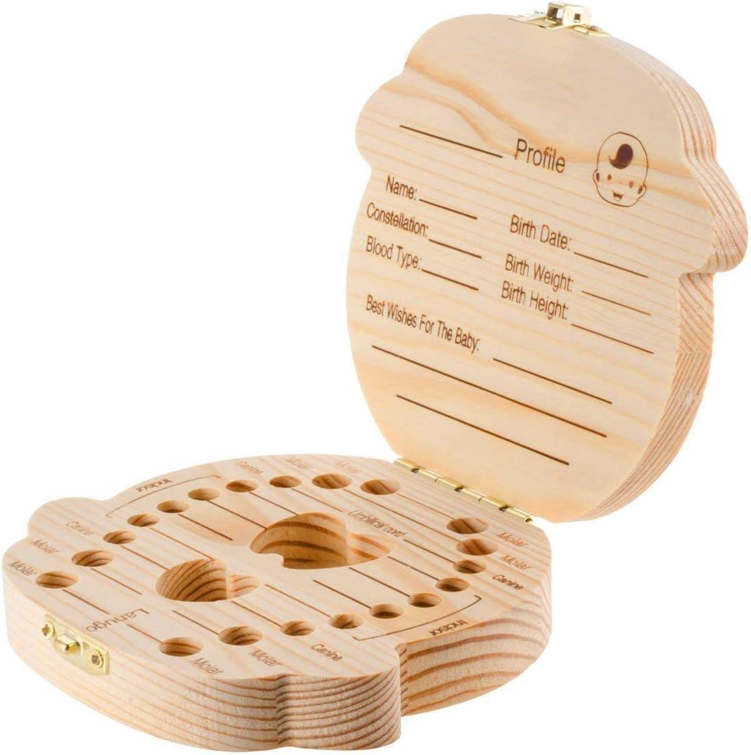 Lubier 1 Pieza Caja de Almacenamiento de Dientes de Leche Para Ni/ños Espa/ñol Caja de Recuerdos de Hoja Caduca Beb/é Regalo Precioso