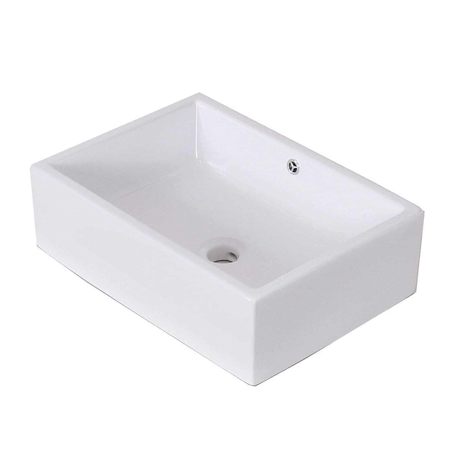 ELITE Bathroom Long Rectangle Thick White Porcelain Ceramic Vessel Sink Chrome Pop Up Drain