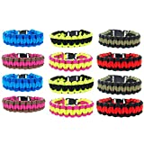 FROG SAC Paracord Bracelets for Men, Boys, Kids 12 PCs - Survival Tactical Bracelet Braided with 550 lbs Parachute Cord - Camping Gifts, Scouts Accessories - Great Birthday Party Favors (Two-Tone)