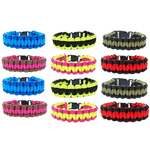 Price comparison product image FROG SAC Paracord Bracelets for Men,  Boys,  Kids 12 PCs - Survival Tactical Bracelet Braided with 550 lbs Parachute Cord - Camping Gifts