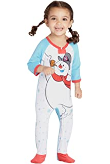 Frosty The Snowman Baby Fleece One Piece Onesie Footie Sleeper Holiday  Pajama 3dc039ff7
