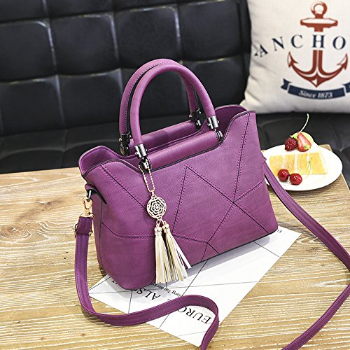 GUANGMING77 Drucken_Feder Tasche Damen Handtasche Handtasche Drucken Violet irTYQF