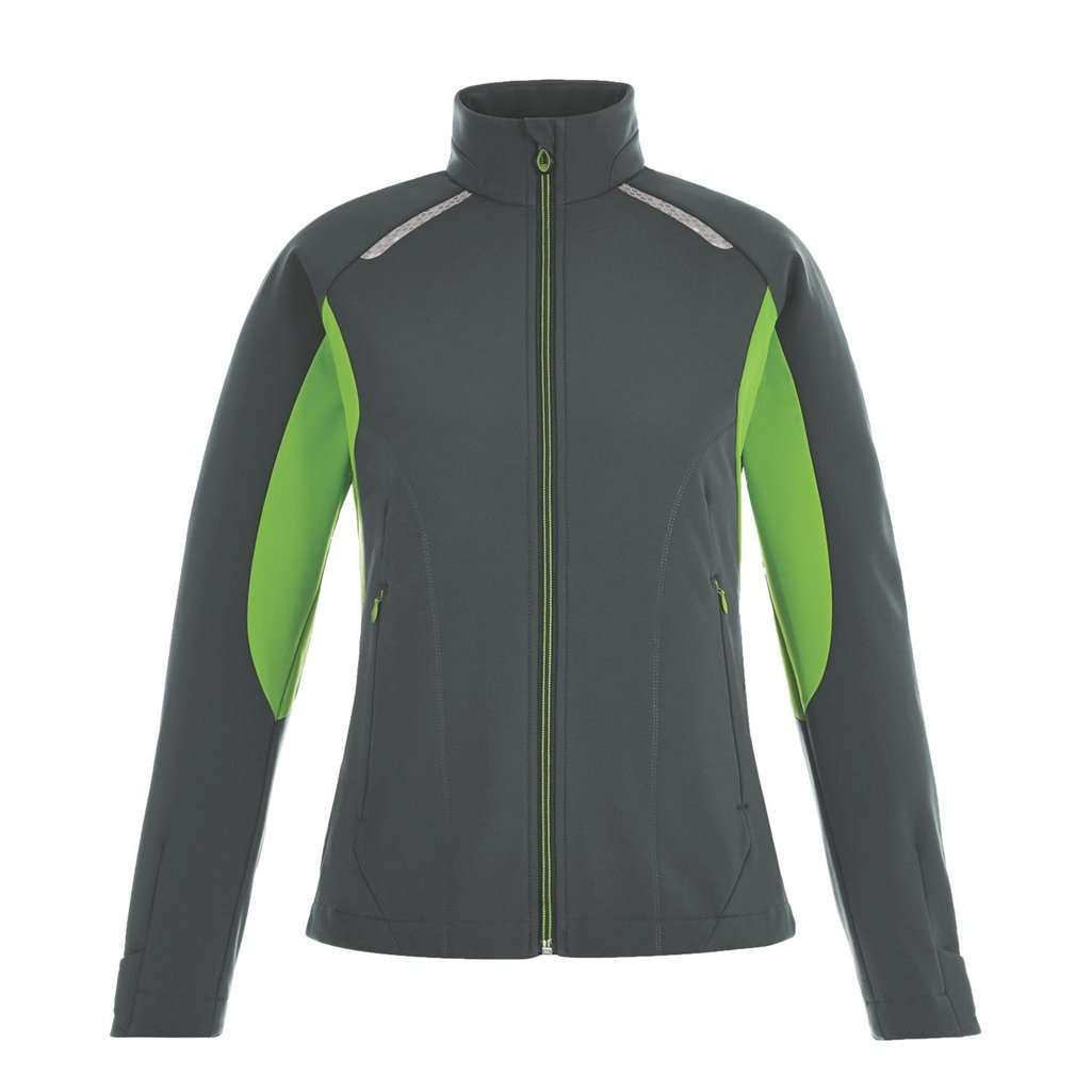Ash City Ladies Excursion Soft Shell Jacket (X-Small, Carbon/Acid Green)