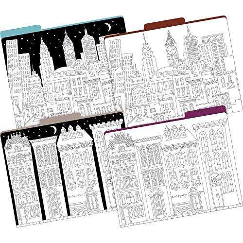 Barker Creek Letter-Size File Folders, Color Me! Cityscapes, Multi-Design, Pack of 12