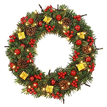 24 pre lit christmas wreath battery operated warm white lights with cones - Pre Lit Christmas Wreaths Battery Operated