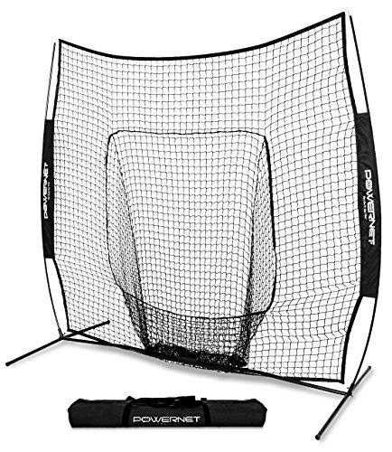 (PowerNet Team Color Baseball Softball 7x7 Hitting Net w/Bow Frame (Black))