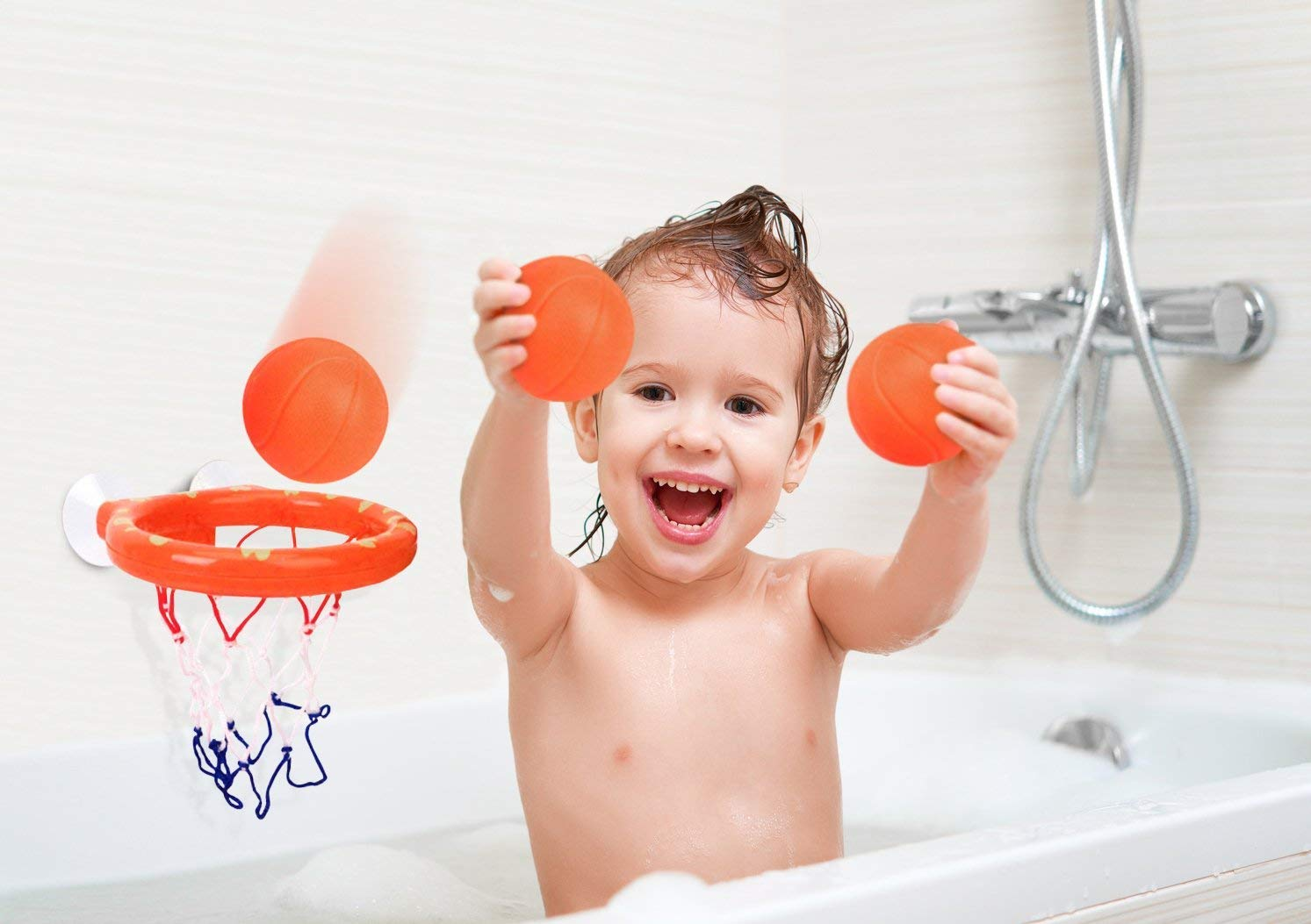 Areedy Kids Bath Toy Basketball Hoop /& Balls Playset for Boys Girls Bathtub Shooting Basket Game Toddlers Gift Set Suctions Cups That Stick to Smooth Place