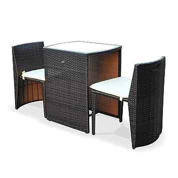 Alices Garden - Conjunto de Mesa y sillas de Jardin Ratan Sintetico - Marron/Marron, Cojines Crudo - 2 plazas - Doppio