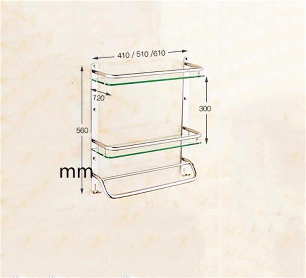 Ljf Bagno Mensola Bagno in Acciaio Inox Mensola in Vetro Accessori da Parete per Bagno Angoli arrotondati di Sicurezza Color : 31 * 56CM