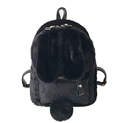 2a72dfb48b Amazon.com  Cute Faux Fur Mini Backpack Rabbit Ear Women Travel Shoulder  Bags Fashion Plush Backpack Rucksack School Bag for Girls XA566WB