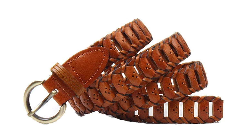 New Women's Leather Belt High-Grade One Size Weave Belts Alloy Buckle Pin Joker