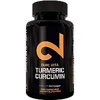 DUAL VITA Turmeric Curcumina |Per Uomini e Donne | Organico | Integratore alimentare naturale al 100% | Massima potenza 1350mg | Certificato in laboratorio | Senza additivi | Made in EU| 100 capsule