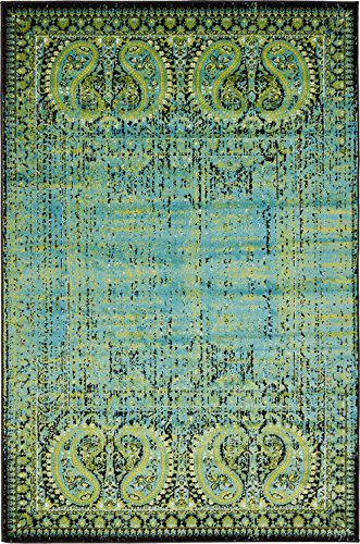 Luxury Modern Vintage Inspired Overdyed Area Rugs Aquamarine 4u0027 X 6u0027 FT  Artis Designer Rug Colorful Craft Rugs And Carpet