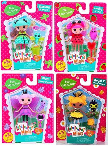 Lalaloopsy Minis Doll Set Bug Collection #13 Lucky Lil' Bug #14 Plum Flitter Flutter #15 Total T. Honey Stripes #16 Darling Brightside Figure Bundle