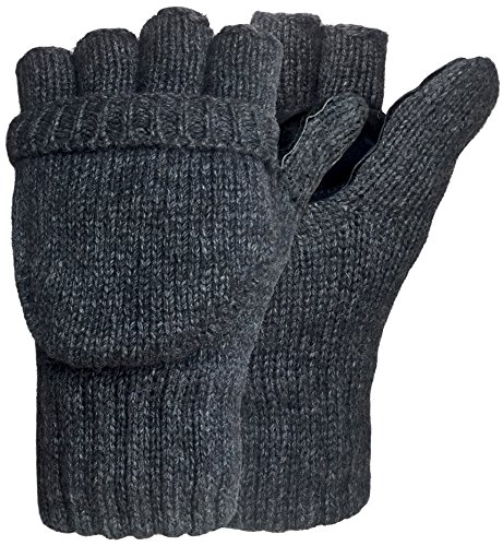 Korlon Wool Knitted Convertible Fingerless Gloves with Mitten Cover, Dark Gray