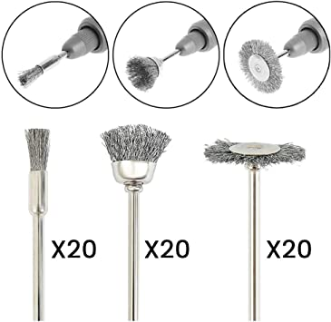 """20 x 1/"""" Rotary acier inoxydable Brosse métallique roues polissage outil Rust Remover"""