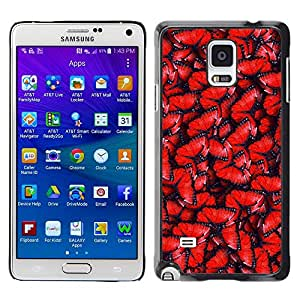 LECELL--Funda protectora / Cubierta / Piel For Samsung Galaxy Note 4 SM-N910 -- Red Pattern Wing Blue --