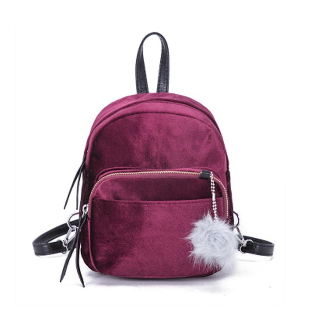 Kanpola Mini Fur Ball Backpack Fashion Shoulder Bag Solid Women Girls Travel School Bags Green Kanpola02