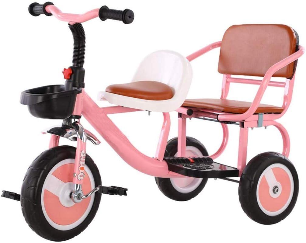 WLD Cochecito de entrenamiento para niños Cochecito con marco Cochecito doble Bebé Bicicleta de dos plazas Triciclo gemelo Puede llevar a las personas Asiento suave Triciclo al aire libre 2 Opciones