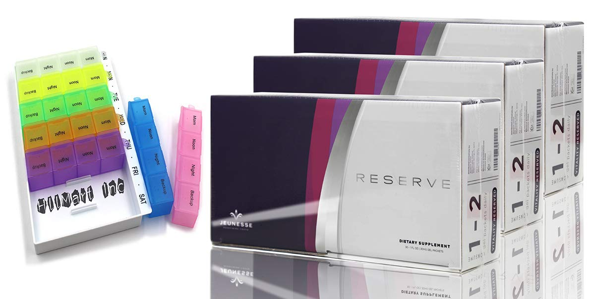 Jeunesse Reserve Antioxidant Botanical Fruit Blend with Resveratrol, Dietary Supplement 3 Boxes and 30 Sachets Each Box Comes with Free HLLMART Pill Organizer (3 Pack)