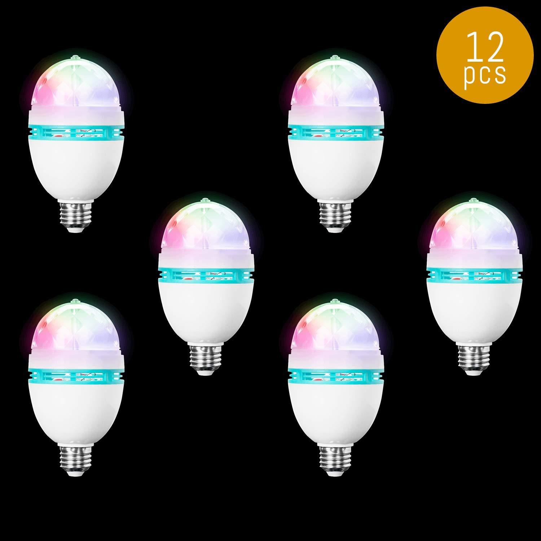 Lumistick LED Rainbow Disco Ball Bulb | Light Up Rotating Multicolor Flashing Light Glowing Night Party Lamp (12 Bulbs)