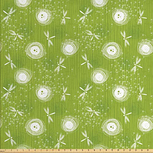 (Ambesonne Dragonfly Fabric by The Yard, Sketch Style Dandelion Flower Petals Spring Beauty Nature Blossom Image, Decorative Fabric for Upholstery and Home Accents, 3 Yards, Lime Green Cream)