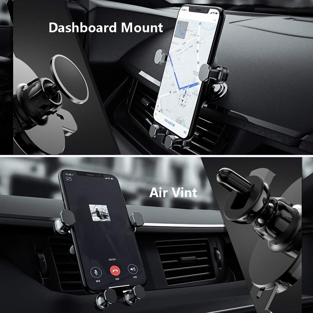 One-Handed Car Phone Holder Black Universal Car Cell Phone Mount 2 in 1 Car Air Vent Holder Dashboard Mount Gravity Linkage
