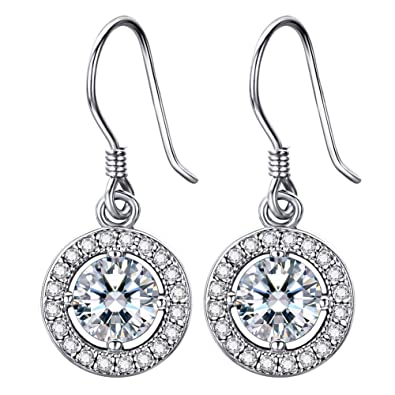 729ce6aa0 Lydreewam 925 Sterling Silver Dangle Drop Earrings Women With 3A 6MM Cubic  Zirconia Round Button: Amazon.co.uk: Jewellery