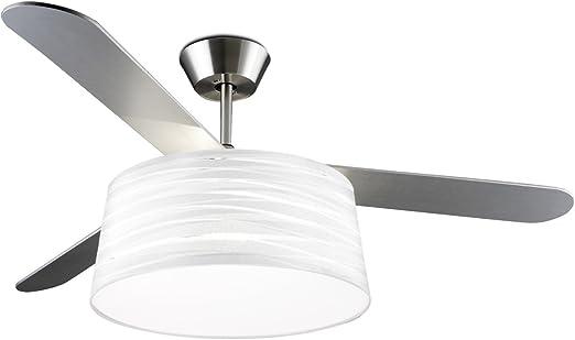 Diseño Ventilador de techo BELMONT níquel satinado/blanco Incluye ...