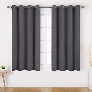HOMEIDEAS Blackout Curtains 52 X 45 Inch Length Set of 2 Panels Grey Room Darkening Bedroom Curtains/Drapes, Thermal Grommet Light Bolcking Window Curtains for Living Room