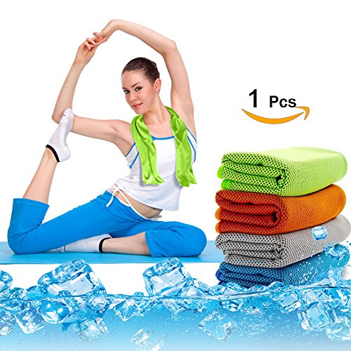 Yoga Cooling Towel, Travel Sweats Cooling Scarf, Golf Bowling And Gym Microfiber Towel, Instant Cool Mission Towel, Outdoor Sports Cooling Headband Bandana For Valentine Present Women Men Kids(Green)