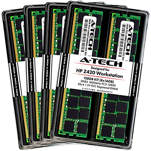 A-Tech 128GB ECC Registered Memory Kit for HP Z420 Workstation (8 x 16GB) ECC RDIMM DDR3 PC3-12800 1600MHz 240-Pin DIMM 2Rx4 1.5V Dual Rank Max RAM Upgrade