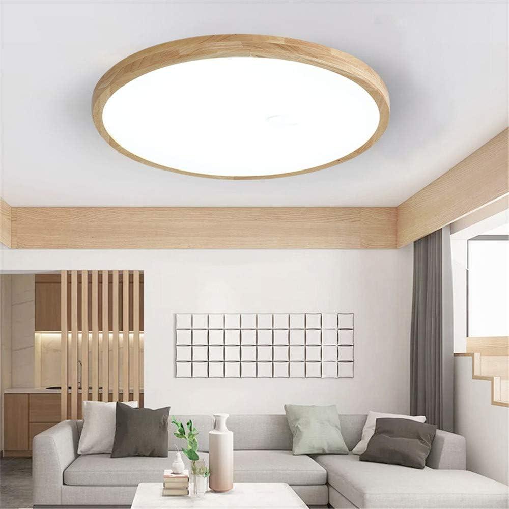 Plafonnier LED Pour Chambre /à Coucher Couvercle De La Lampe Acrylique Neutre,300 * 45mm //16W Corps Rond Ultra-mince Cadre En Bois Massif Source De Lumi/ère Pour Objectif