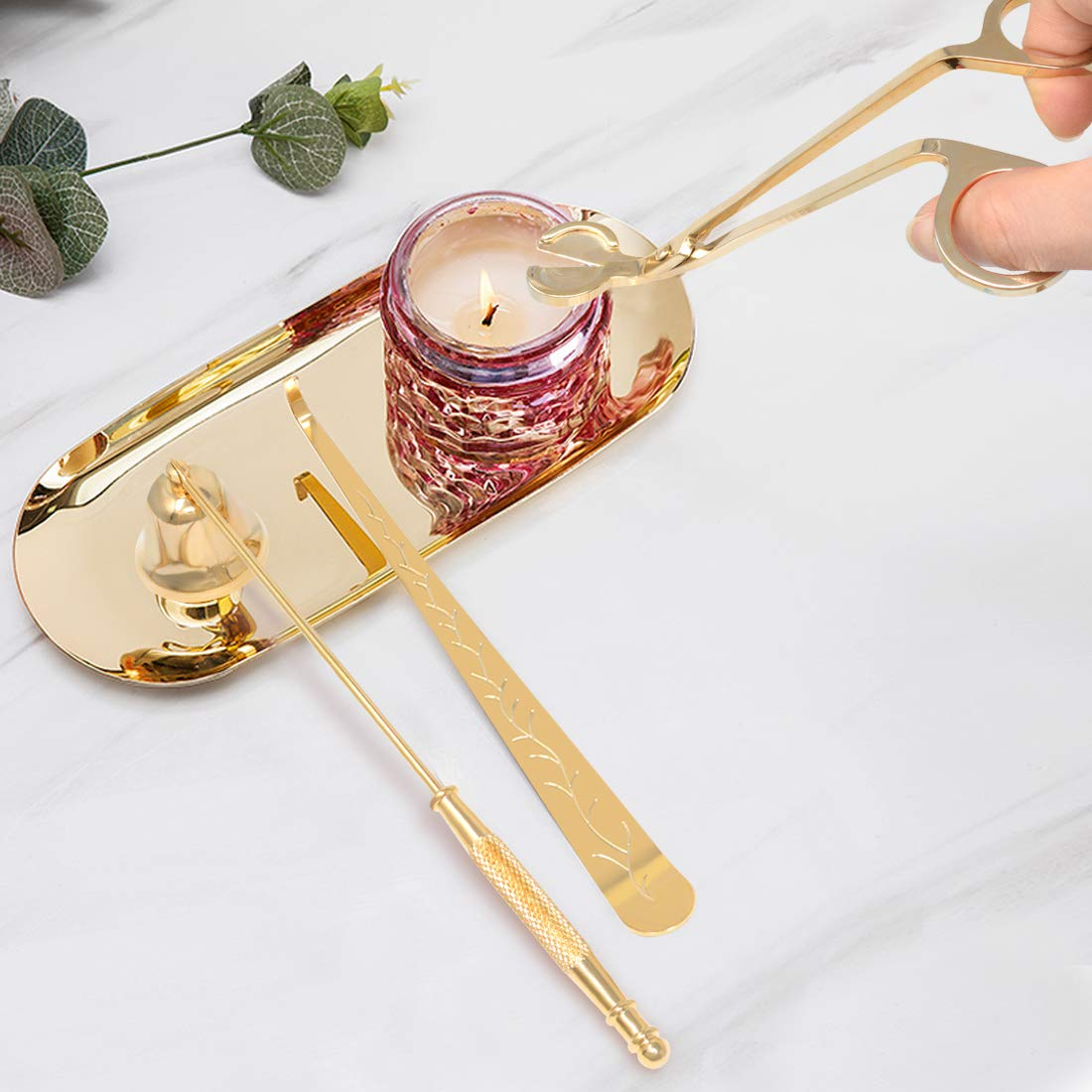 Yolyoo Candle Wick Trimmer/Dipper Candle Snuffer Candle Accessory Set 3 in 1 Candle Tool kit (Gold)