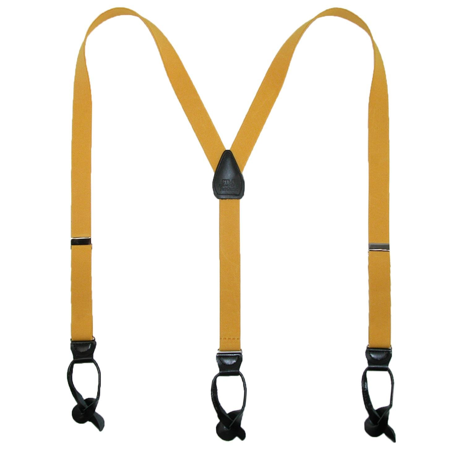 CTM Elastic 1 Inch Wide Fashion Color Button-End Suspenders, Sunny Yellow
